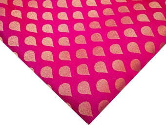 Hot Pink and Gold Art Silk Brocade Fabric - Dress Fabric for Weddings - Hot Pink Banaras Silk Fabric by Yard