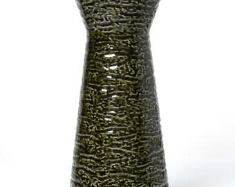 Vintage Royal Norfolk Pottery Apollo 11 green vase, 1960s English pottery, mid century modernist space age retro home decor