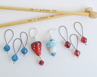 Berry Fun in Blue and Red Strawberry and Mushroom Progress Keeper Set with Beaded Stitch Markers Knitting Crochet Notions Gifts