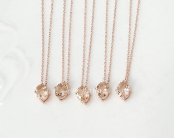 Bridesmaid gifts - Set of 4, 5, 6 -champagne necklace, peach necklace, rose gold necklace,stone in bezel