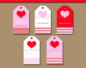 Valentines Day Hang Tags - Printable Valentine Party Favor Tags - Valentine Wine Bottle Tags - Pink & Red - Edit Tags in Adobe Reader V2
