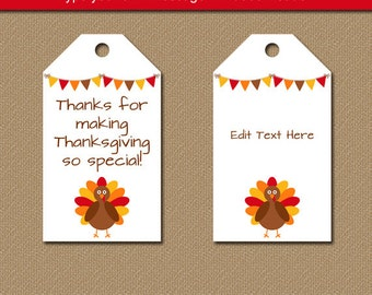 Printable Thanksgiving Tags - EDITABLE Thanksgiving Party Favor Tags - Thanksgiving Gift Tags - Turkey Tags - Instant Download Hang Tags T2