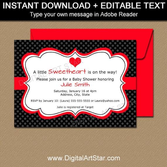 editable valentines day invitation template printable valentines day baby shower invitation. Black Bedroom Furniture Sets. Home Design Ideas