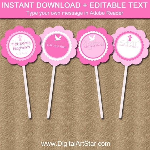 Pink Christening Cupcake Toppers, Girl Baptism Cupcake ...