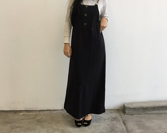 Vintage 90s Black Overall Dress with Hardware details - Size Small - Medium