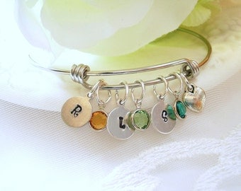 Birthstone Initial Charm Bracelet Child's Birthstone Family Tree Jewelry for Mother Gift for Wife Push Present Gift for Mom Grandmother Gift
