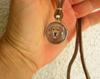 Minature Painting Custom Pet Portrait Pendant Necklaces-Dogs-Cats-Horses-Animals-Rottweiler-Shepard-Poodle-Chihuahua-Retriever