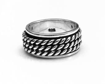 Rope Chain Spinner Ring, Silver Spinner Ring, Spinner Ring, Celtic Ring, Sterling Silver Ring, Gothic Jewelry, Gothic Rope Ring