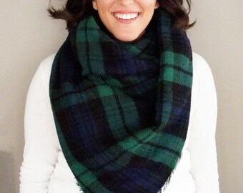 Navy and Green Black Watch Plaid Comfy Blanket Scarf