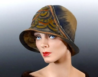 """Antique Cloche Original """"Lasdon Paris New York"""" Hand Painted Ombre Finely Woven Straw Hat 1920's Historical Hat Fashions"""