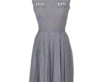 vintage 1950's gingham dress / navy blue white / cute pockets / spring summer / checkered dress / women's vintage dress / size medium