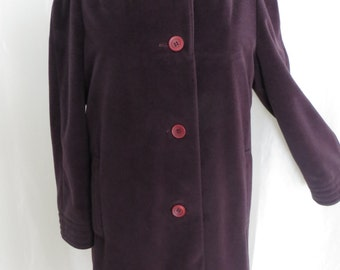 Vintage 70s womens winter coat, purple eggplant long warm winter by Bromleigh