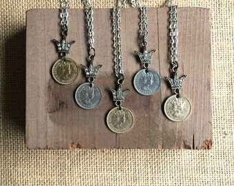 Crown the Queen Necklace 1955 vintage coin jewelry by Nancelpancel on Etsy