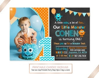 Monster Birthday Invitation, Monster Party Invitation, Little Monster Invite, Monster 1st Birthday Invitation, Monster Bash, Printable