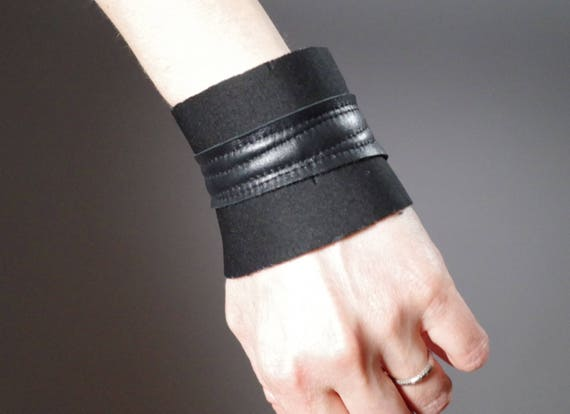 Black Leather Cuff Bracelet - Neoprene Cuff Bracelet - Leather Cuff - Black Cuff Bracelet - Leather Black Cuff
