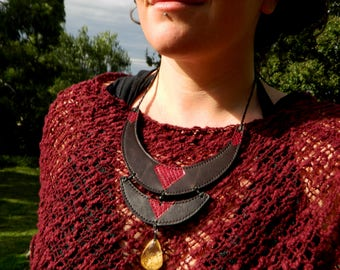 Garden Quartz and Snake Skin Statement Necklace Australian Gemstone Jewelry Recycled Leather jewelry by Ariom Designs