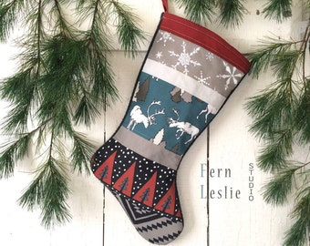 Christmas Stocking Quilted, Personalized, Animals, Modern, Handmade, Holiday Decor, Rustic, Elk, Reindeer, Teal, Mushroom, Dark Red, Child