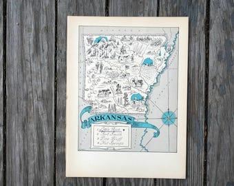 Vintage Arkansas Map Etsy - Arkansas map