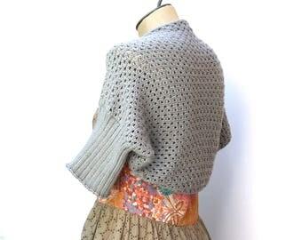 Ready to Ship: Eyelet Shrug - Hand Knit Shrug - Cotton Sweater - Lace Shrug - Women Sweater - Spring Sweater - Cotton Shrug - Amy LaRoux