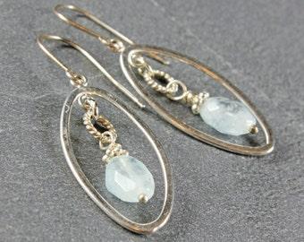 Aquamarine Earrings, Sterling Silver, aqua-blue gemstone, pale blue, fine earrings, oval earrings, holiday gift ideas, March birthstone