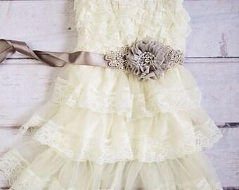 Rustic Flower Girl Dress, Ivory Flower Girl Dress, Rustic Flower Girl Dress with sash, Flower Girl Outfit,Wedding Dress, Ivory Wedding Dress