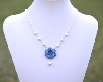 Dusty Blue Rose Centered Necklace. Blue Bridesmaid Necklace