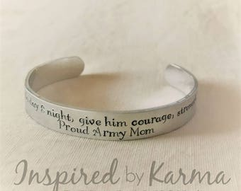 Deployment Bracelet,Proud Military Mom,Army Mom,Air Force Mom,Marine Mom,Navy Mom,Military Jewelry,Keep him safe night and day,Keep her safe