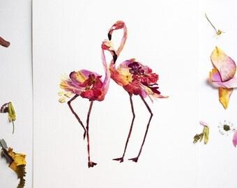 Flamingo art Print Pressed flower art Dry flower arrangement Botanical Dried flowers Flamingo print Pink flamingos Pressed flowers wall art