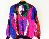 Crazy Vintage Picasso Bomber Jacket / Rad Vintage Art Nouveau Windbreaker / 80s Abstract Geometric Bomber Jacket