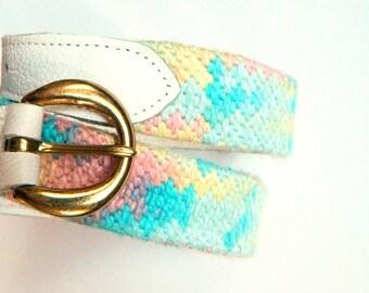 "Vintage Pastel Woven Rainbow Belt / Colorful Pastel Belt / White Leather Woven Boho Belt / 30"" to 32"" Waist"