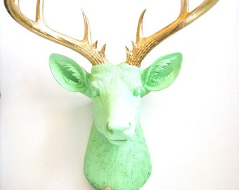 MINT X-Large Faux Taxidermy Deer Head wall mount hanging nursery kids rooms office decor:  Doug the XL Deer head in mint with gold antlers