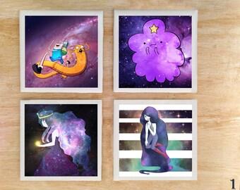 "Stone or Ceramic Adventure Time ""Galaxy Time"" Coaster set - Cartoon Finn and Jake LSP Lumpy Space Princess Marceline Princess Bubble Gum"