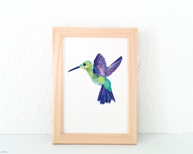 Hummingbird print, Flying hummingbird illustration, Geometric logo, Amazon birds, Jungle animals, Emerald green print, Purple green art