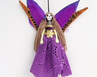 Fairy decoration, Catrina, Day of the Dead ornament, handmade unique decor, Day of the Dead, unusual christmas gift