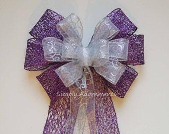 Purple White Silver Bow Purple Silver Christmas Wreath Bow Purple Silver Swirls Filigree Christmas Bow Purple White Winter Holiday Gifts Bow