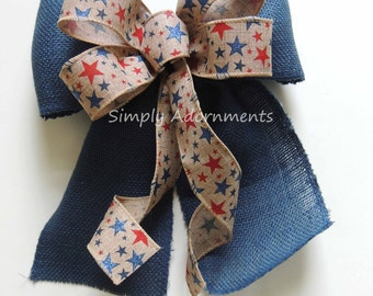 Rustic Burlap Fourth of July Wreath Bow Red White Blue Patriotic Burlap Bows July 4th Door hanger Bow Rustic Patriotic Home Decor