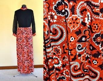 BNWOT 1960s Vintage Paisley Maxi Dress size 12 (S M) bust 36