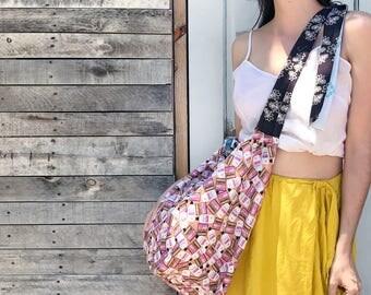 Coppertone Print Beach Sack - Reclaimed vintage fabric