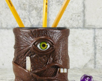 Dice Cup Pencil Cup Desk Accessory With Monster Face Brown Leather RPG Harry Potter MTG D&D