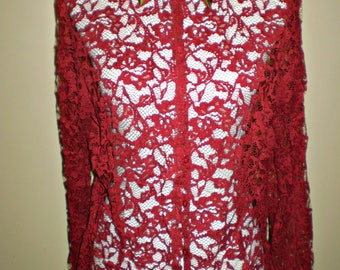 Red Lace Button Down Studded Shirt