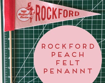 "mini replica league of their own pennant 4"" x 10"" - rockford peaches baseball"