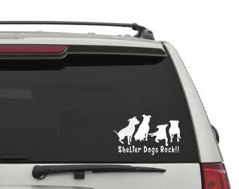 Shelter Dogs Rock Car Decal
