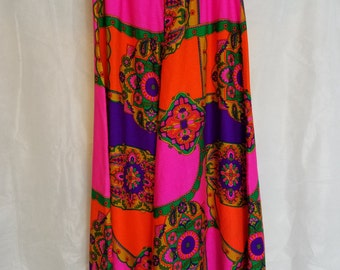 L XL XXL Extra Large Volup Plus Size Vintage 60s 70s High Waisted Super Wide Flared Trippy Psychedelic Groovy Disco Party Palazzo Pants