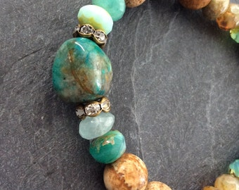 Turquoise stretch bracelet - stacking boho chic, earthy rustic mix with sparkly rhinestones, gift for her by mollymoojewels