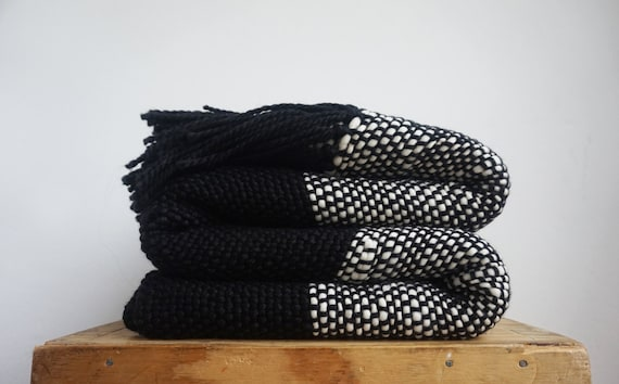 Black And White Chunky Throw Blanket Couch Cover By