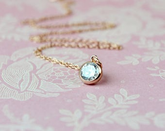 Dainty Rose Gold Necklace, Rose Gold Pendant, Solitaire, Wife Gift, Best Selling Items, Rose Gold Jewelry, Rose Gold Cubic Zirconia Necklace