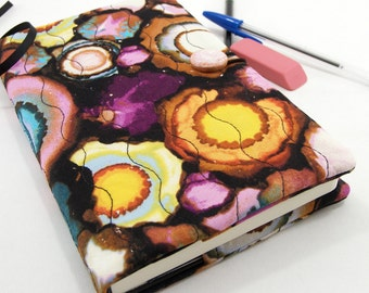 5 x 8 Inch Journal Cover, Fabric Diary, Quilted Moleskine Slipcover - Colorful Geode Circles Fabric Notebook Cover