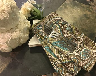 Cotton Paisley Napkins - set of 4 -  18 inch square - Eco Friendly Table Holiday