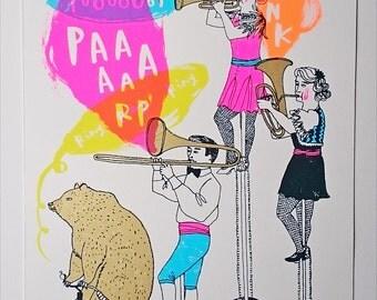 Music screenprint - Tooooot, Paaaarp, Honk