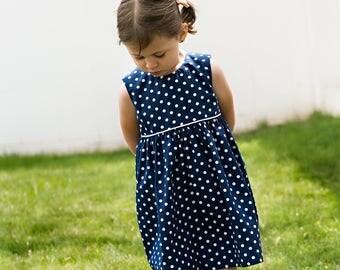 Girls sleeveless navy polka dot dress, party summer cotton dress, sizes 12 m to 12 years